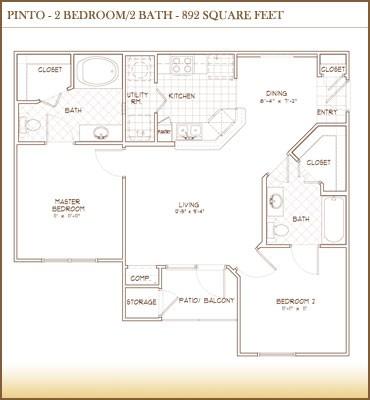 892 sq. ft. PINTO floor plan