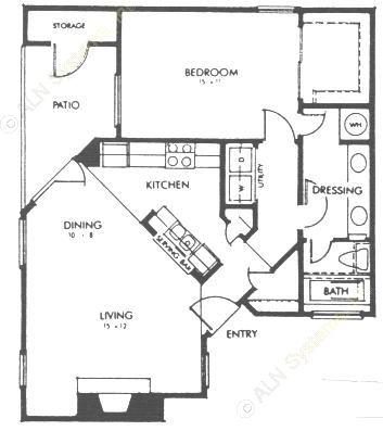 805 sq. ft. B floor plan