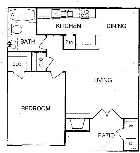 667 sq. ft. floor plan