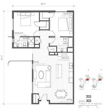 1,145 sq. ft. B2 floor plan