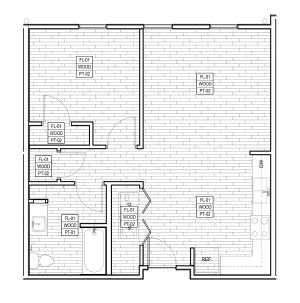 714 sq. ft. 50% floor plan