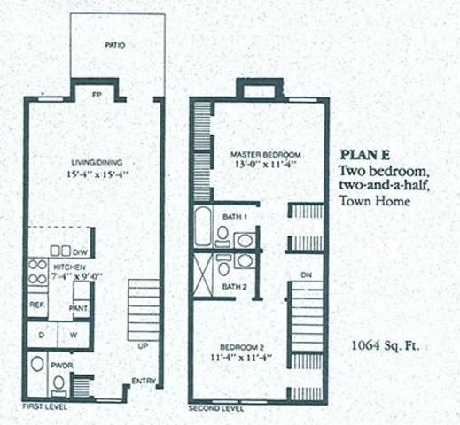1,064 sq. ft. E1 floor plan