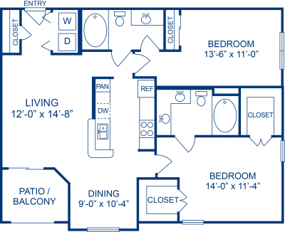 1,047 sq. ft. E floor plan