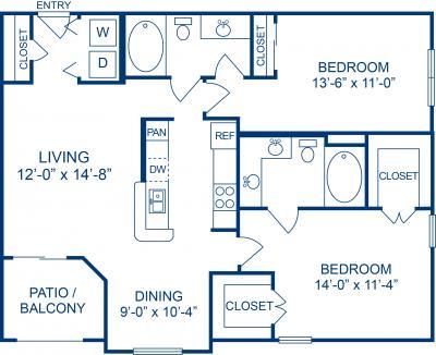 1,047 sq. ft. E floor plan