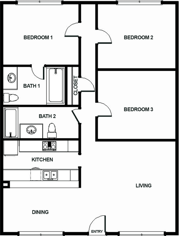 1,296 sq. ft. J2 floor plan