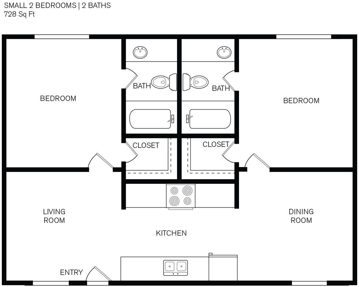 728 sq. ft. D1 floor plan