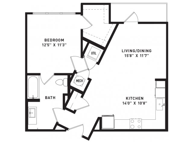739 sq. ft. A7 floor plan