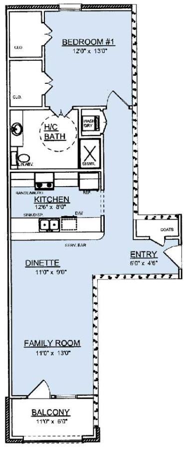 915 sq. ft. A3 floor plan
