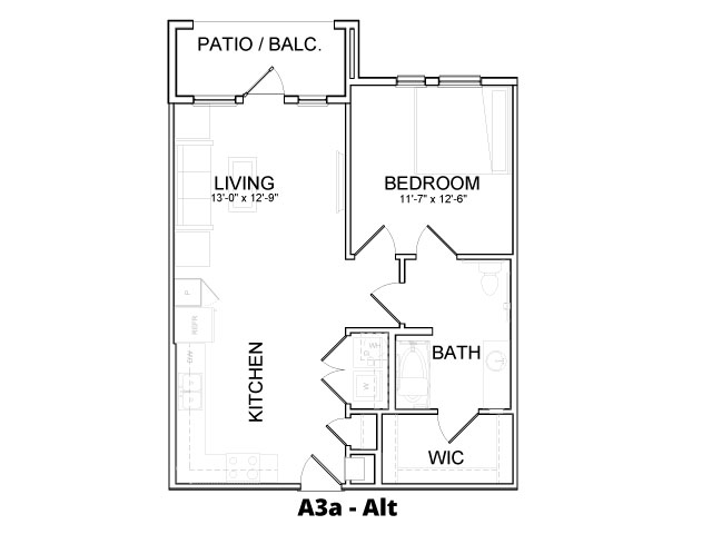 747 sq. ft. A3A ALT floor plan