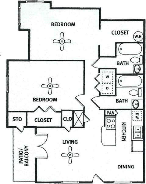 961 sq. ft. floor plan