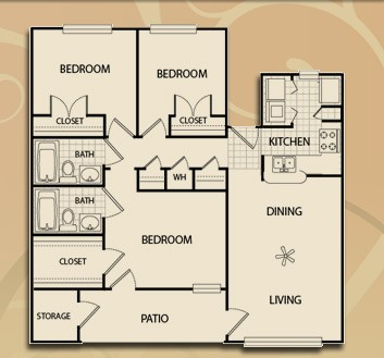 1,097 sq. ft. C1/60 floor plan
