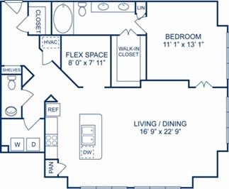 1,225 sq. ft. Sicily floor plan
