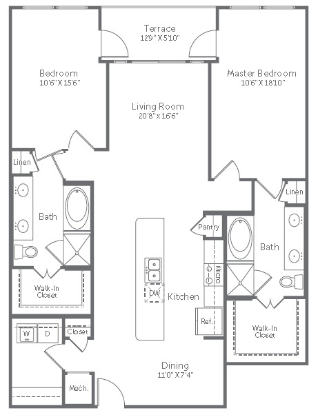 1,369 sq. ft. B10 floor plan