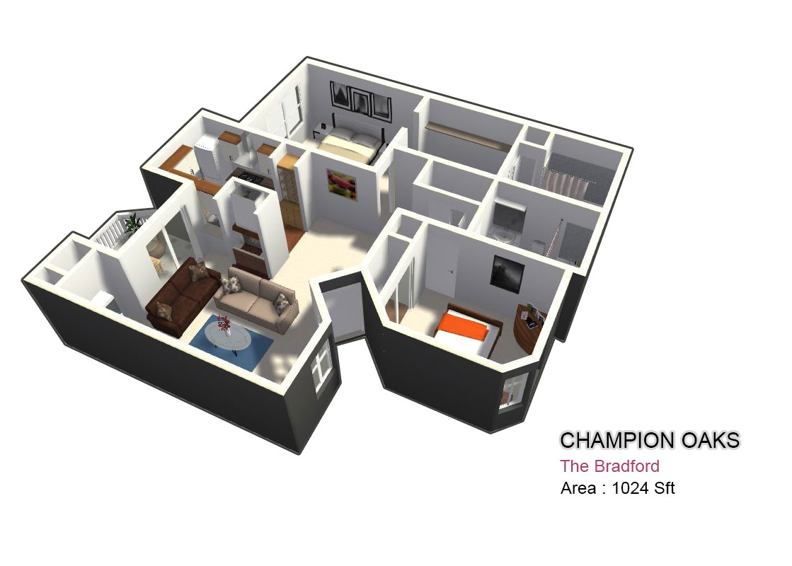 1,024 sq. ft. Bradford floor plan