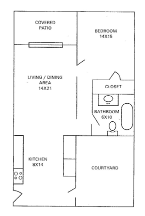 609 sq. ft. floor plan
