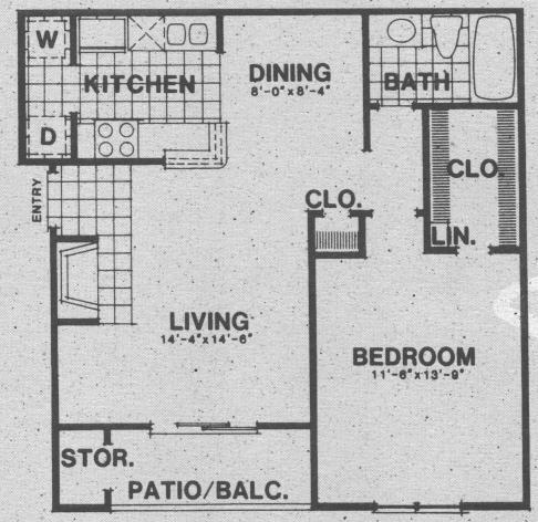 690 sq. ft. A3 floor plan