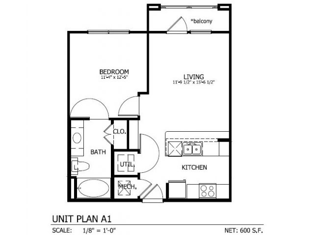 600 sq. ft. to 612 sq. ft. A.1 floor plan
