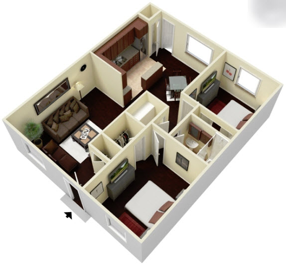 981 sq. ft. B floor plan