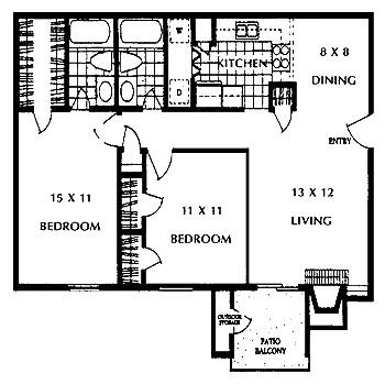 952 sq. ft. BROOKLYN floor plan