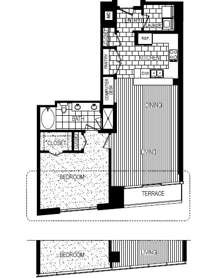 1,065 sq. ft. A floor plan