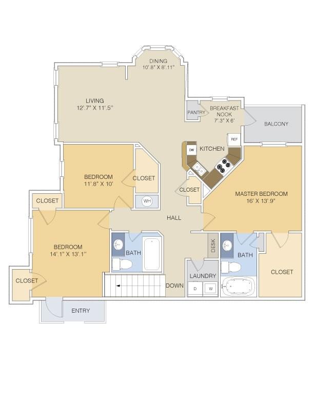 1,523 sq. ft. C1 UPPER floor plan
