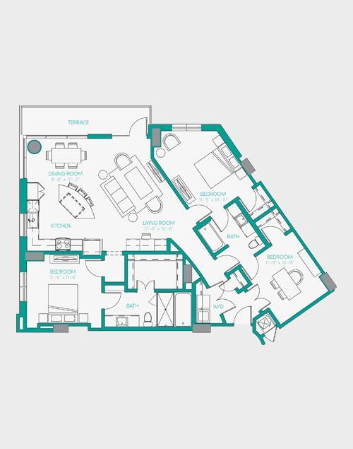 1,492 sq. ft. C1.1 floor plan