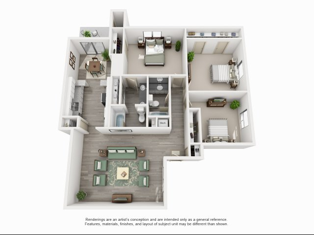 1,459 sq. ft. C2 floor plan