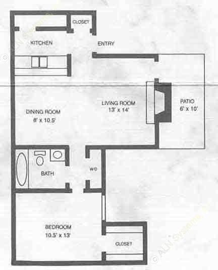668 sq. ft. A2 floor plan
