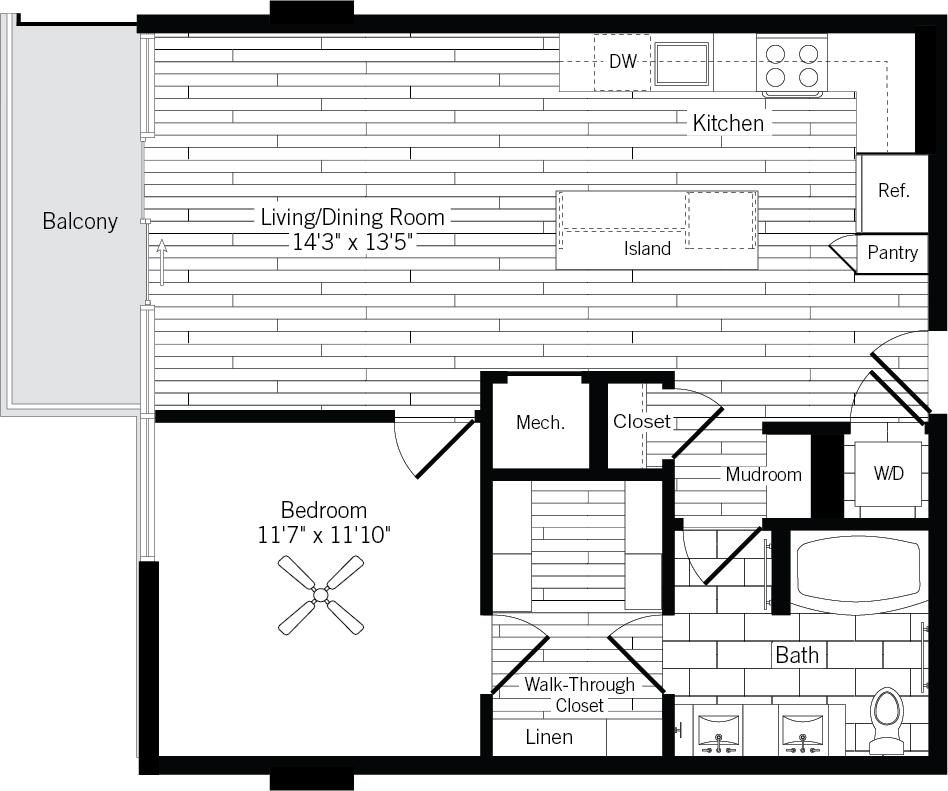 775 sq. ft. 1E-R floor plan