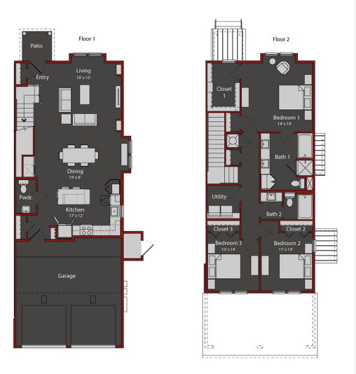 1,851 sq. ft. TH1 floor plan