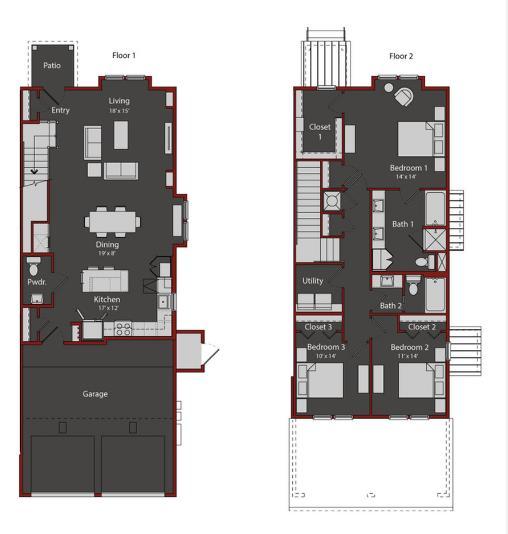 1,851 sq. ft. TH1 floor plan