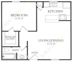 606 sq. ft. D floor plan