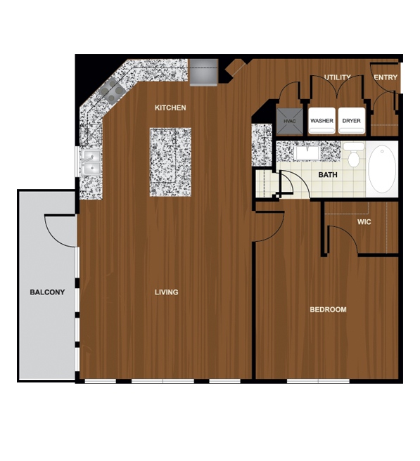 946 sq. ft. A7 floor plan