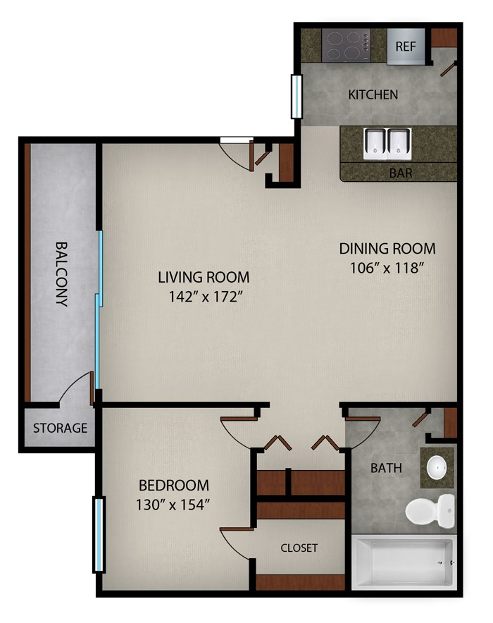 634 sq. ft. A floor plan