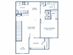 909 sq. ft. A2D floor plan