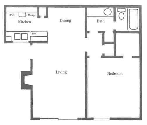 645 sq. ft. C1 floor plan