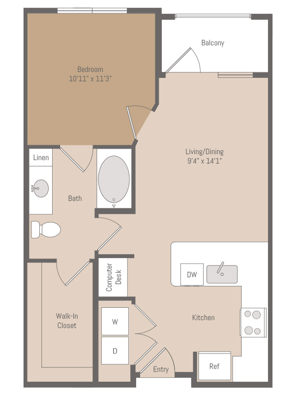 634 sq. ft. A1.9 floor plan