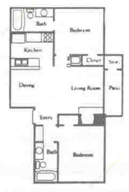 750 sq. ft. B2/60% floor plan