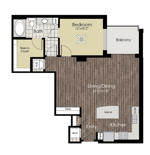 909 sq. ft. A11 floor plan