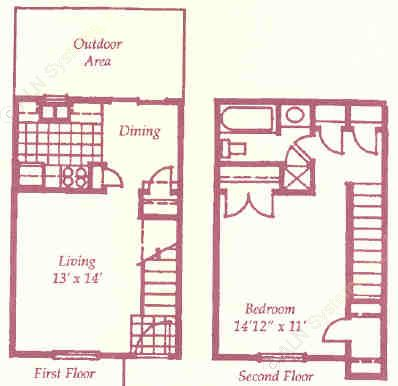 697 sq. ft. F1 floor plan