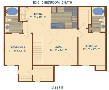 1,114 sq. ft. B4 floor plan