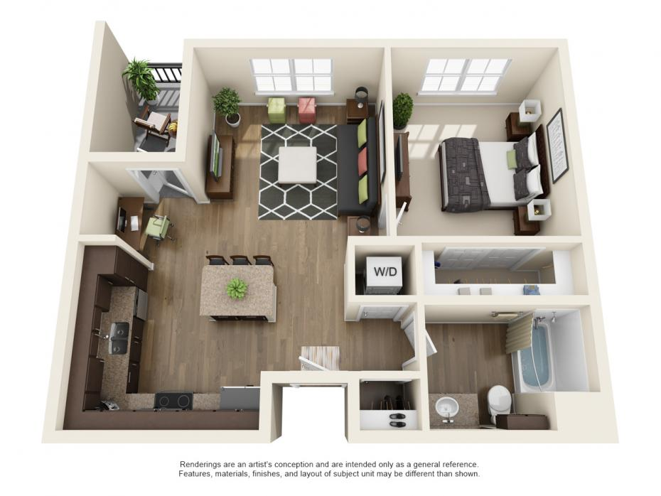 745 sq. ft. A1 floor plan