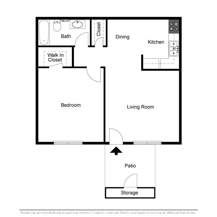 587 sq. ft. floor plan