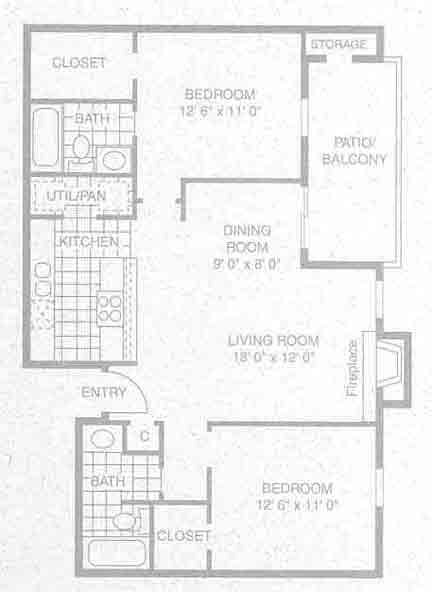 975 sq. ft. B-2 floor plan
