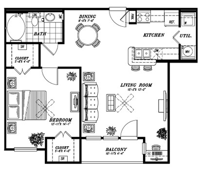 776 sq. ft. A1C floor plan