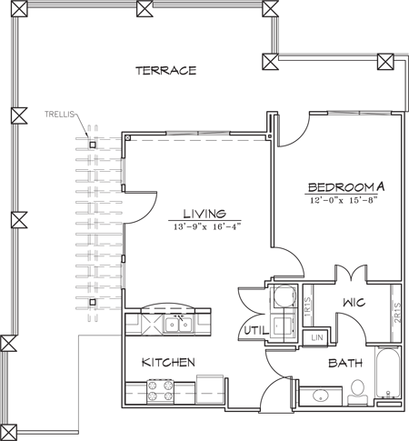 726 sq. ft. floor plan