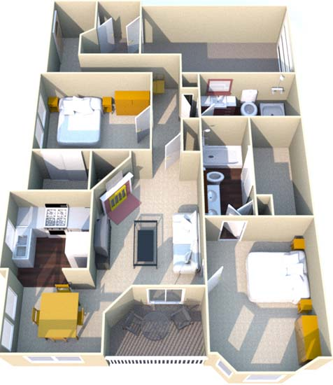 1,325 sq. ft. H floor plan
