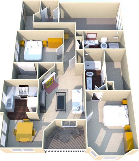 1,325 sq. ft. H floor plan