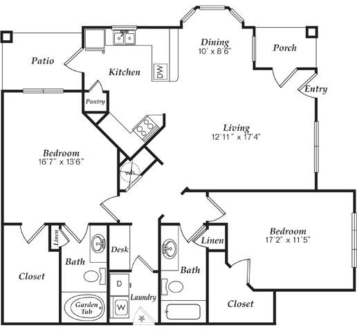 1,327 sq. ft. B3-D floor plan