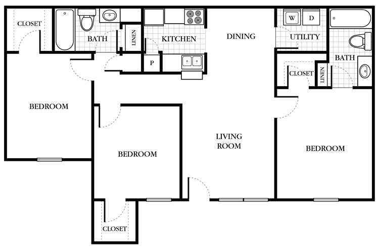 1,060 sq. ft. Canterbury floor plan